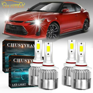 9005 9006 4PC LED Headlight Bulbs Hi Low Beam For Scion tC 2005-2007 White 6000K