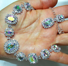 Rhinestone Austrian Crystal Choker Necklace Earrings AB Pageant Prom
