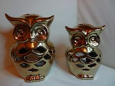 New 2 x Gold Ceramic owls with  LED T- Light Holders,NEW and Boxed