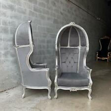 French Grey Velvet Throne Balloon Chairs - a Pair