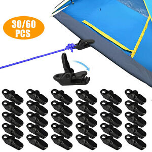 60pc Camping Awning Tarp Clamp Set Tent Clips Hangers Survival Emergency Grommet