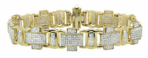 4 Ct Round White Sim Diamond Men's Cross Link Bracelet 14k White Gold Finish