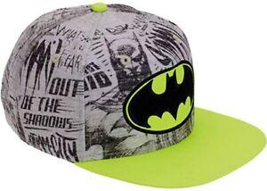 Batman Logo Baseball Hat Cap Adjustable Snap Back Youth Neon & Grey Bioworld