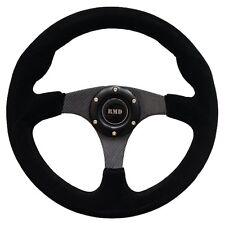 Steering Wheel Flat Suede 350mm Carbon Effect Spokes OMP Style - SVi-4102BSUC