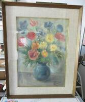 Schönes Bild Floral Vintage Handbemalt Mit Schöner Rahmen 44x56cm