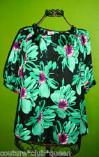 WORTHINGTON NWT Green Flowers Pleat Neck Blouse XL