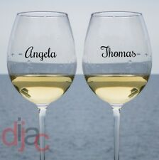 VINYL DECALS 2 x NAMES OR WORDS STICKERS FOR WINE GLASS