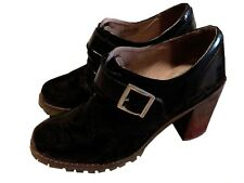 "Topshop Women's Black 3.5"" Heel  Buckle Strap Oxford Shoes Size 8 1/2"