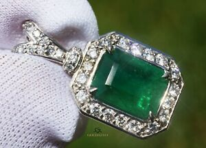 Emerald Pendant Gold 14K Diamond Natural Real For Women GIA Certified 5.08 CTW