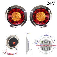 2 Pcs 16-LED 24V Round Clear Lens Red & Yellow Tail Lights for Truck Trailer RV