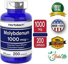 MOLYBDENUM 1000 mcg 200 Capsules Essential Trace Mineral Antioxidant Support