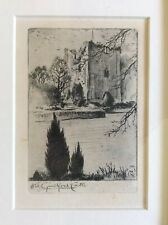 Very Sweet Little Original Antique Etching of OLD GUILDFORD CASTLE