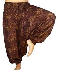 Sarouel Femme Pantalon Ethnique Aladin Harem Pant Aladdin yoga marron