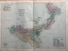 1891 Calabria & Sicily Italy Original Antique Hand Coloured Map by G.W. Bacon