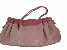 Roberta Gandolfi Italy Pink Leather Purse Tote Satchel Handbag Faux Snake