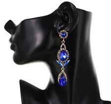 "3.45"" Long Rhinestone Blue Chandelier Bridal Prom Party Pageant Stud Earring"