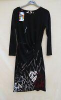 BNWT Desigual black/multi graphic 'Not the Same' lg sleeve stretch dress Size 8