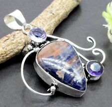 "925 Sterling Silver Sodalite & Purple Amethyst Gemstone Jewelry Pendant Size-2"""