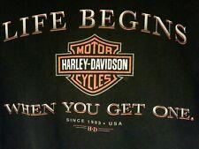 Harley Davidson Mens Biker T-Shirt 2XL Black  Dealer  XXL Life Begins When Get 1