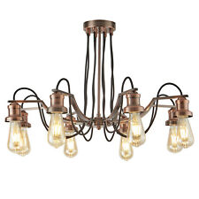 Searchlight Olivia 8 Lights Black Fabric Cable Antique Copper Ceiling Chandelier