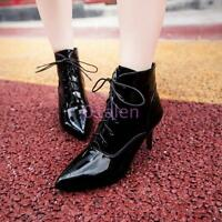 Womens Pointy Toe Formal Shiny leather Lace Up Kitten Heel Ankle boots Plus Size