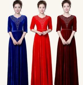 Womens Pleuche Velvet 3/4 Sleeve Maxi Dance Stage Full Length Dress Costumes HOT