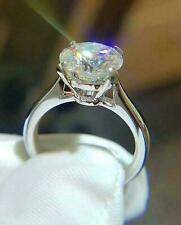 3Ct Round Cut Moissanite Solitaire Engagement Ring Solid 14K White Gold Finish