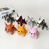Cute French Bulldog Keychain Bulldog Bag Keyring Faux Leather Dog Charm Pendant