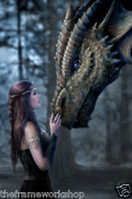 ANNE STOKES ONCE UPON A TIME DRAGON - 3D FANTASY PICTURE 300mm X 400mm