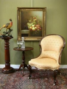 ANTIQUE CARVED MAHOGANY ARMCHAIR / BEDROOM CHAIR ~ BEAUTIFUL FABRIC  c1880s
