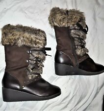 Wonderkids girls brown fur boots size 4 wedge heel  lace-up zipper