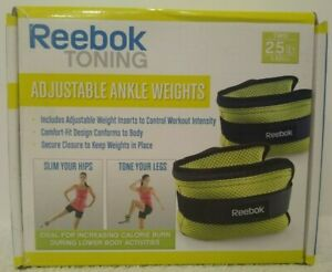 Reebok Toning Adjustable Ankle Weights 2.5 lbs. (2 Included)  Workout Tone