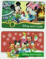 Disney Gift Card LOT of 2 - Christmas, Minnie, Mickey, Pluto, Goofy - No Value