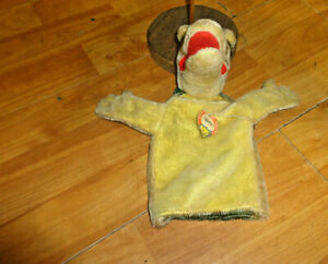 """Vintage Steiff Alligator Hand Puppet Gaty With Hang Tag 9"""""""