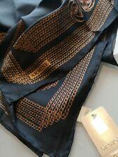 Armine 100% Pure Silk Square Scarf 90cm X 90cm New Black Gold Freepost