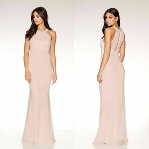 Womans Nude Pink Chiffon Sweetheart Neck Maxi Dress Ladies Evening Bridesmaid ❤