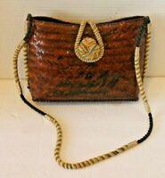 Woven Brown Straw Purse Raffia Shoulder Bag Braided Rattan Made In Philippines
