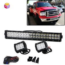 "120W 20"" LED Light Bar w/ Mounting Brackets, Wiring Kit for 99-07 Ford F250 F350"