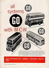 Old Magazine Advert ~ MCW Metropolitan Cammell Weymann - Bus Body Builders: 1962