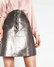 ZARA Metallic Leather Pewter Skirt. Size M Current season 2017