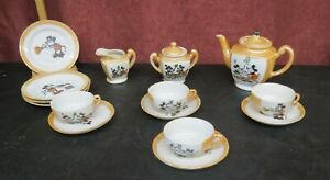 Vintage Lusterware Mickey & Minnie Child's 11 Piece Tea Set Made in Japan