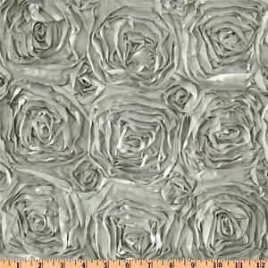 """Rosette Satin Tablecloth 90""""x132"""" Grandiose Ribbon Rose 6ft Cake Table Cover"""