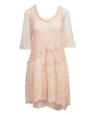 BEAUTIFUL Pretty Angel PEACH Lace & Mesh SILK BLEND DRESS w Slip - Women S Small