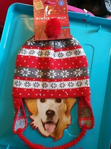 CHRISTMAS WINTER WOOLLY PET HAT LARGE DOG NEW