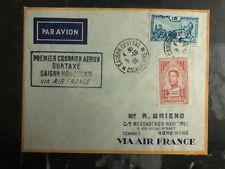 1938 Saigon Hanoi Vietnam Hong Kong FFC First Flight Cover 200 Flown Air France
