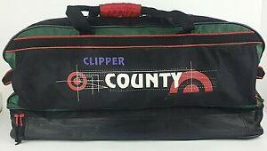 Retro Clipper County Cricket Kit Bag Black Green Red Hard Base