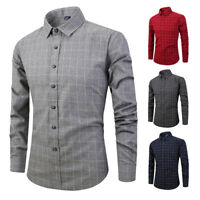 Mens Dress Shirts Long Sleeves Casual Luxury Slim Fit Plaids Checks ST6509