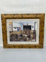 One Room School House Print Kay Lamb Shannon Framed & Matted Pioneer Days 15x18