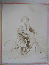 09B1 CDV PHOTOGRAPHIE ALBUMINEE FILLETTE ET TRICYCLE OLD BIKE CYCLE VÉLO 1890