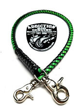 Handmade Biker chain genuine braided leather, Trucker style wallets made in USA